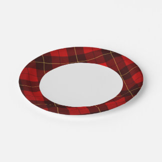 Wallace tartan background paper plate