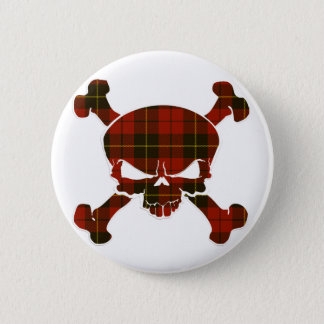 Wallace Tartan Skull No Banner 6 Cm Round Badge