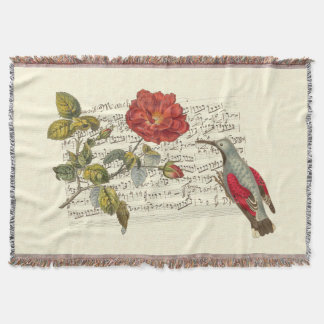 Wallcreeper, Rose and Vintage French Music Sheet Throw