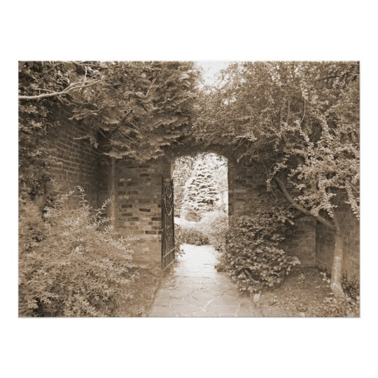 Walled Garden Gate Poster
