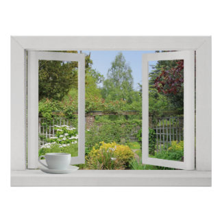 Walled Garden - Open Window onto Flowers and Trees Poster