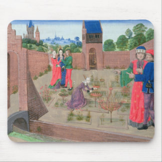 Walled garden with a woman gardening mouse mat