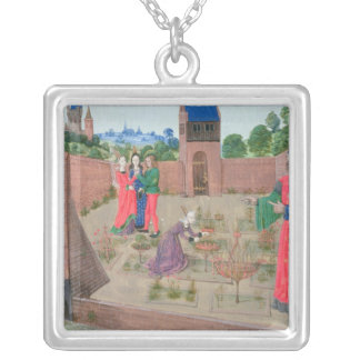 Walled garden with a woman gardening silver plated necklace