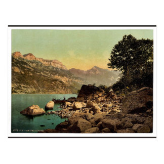 Wallenstadt Lake, Alpine landscape and view on the Postcard