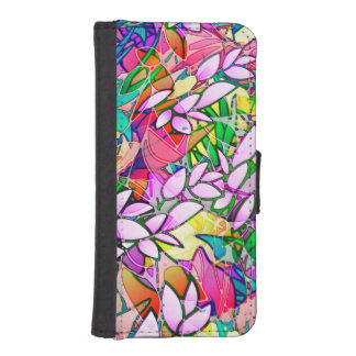 Wallet Case iPhone 5s Grunge Art Floral Abstract