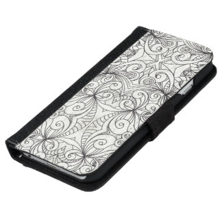 Wallet Case iPhone 6 Floral Doodle Drawing