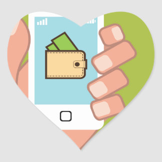 Wallet Phone in Hand Heart Sticker