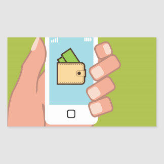 Wallet Phone in Hand Rectangular Sticker