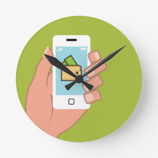 Wallet Phone in Hand Wall Clock