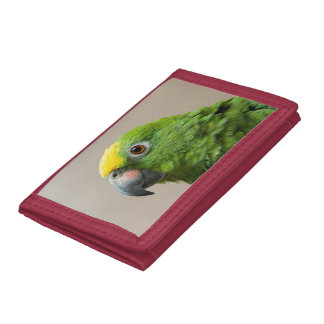 Wallet with Yellow headed Amazon green parrot