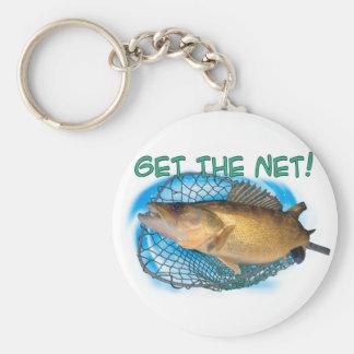 Walleye fishing net basic round button key ring