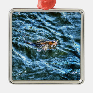 Walleye Fishing Outdoor Fisherman's Sporting Art Silver-Colored Square Decoration