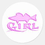 WALLEYE GIRL CLASSIC ROUND STICKER