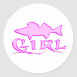 WALLEYE GIRL ROUND STICKERS