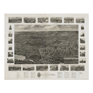 Wallingford Connecticut 1905 Panoramic Map Poster