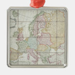 Wallis' New Map of Europe Square Metal Christmas Ornament