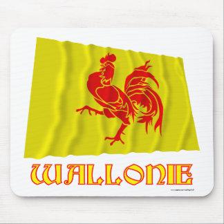 Walloon Region Waving Flag wtih Name Mouse Mat