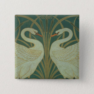 "Wallpaper Design for panel of ""Swan, Rush & Iris"" 15 Cm Square Badge"