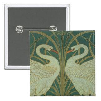 "Wallpaper Design for panel of ""Swan, Rush & Iris"" 15 Cm Square Badge"
