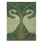 """Wallpaper Design for panel of """"Swan, Rush & Iris"""" Postcard"""