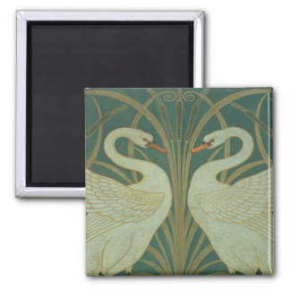 "Wallpaper Design for panel of ""Swan, Rush & Iris"" Square Magnet"