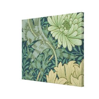 Wallpaper Pattern Sample with Chrysanthemum Canvas Print