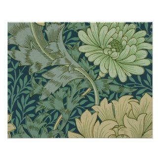 Wallpaper Pattern Sample with Chrysanthemum Poster