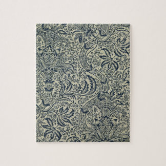 Wallpaper with navy blue seaweed style design jigsaw puzzle