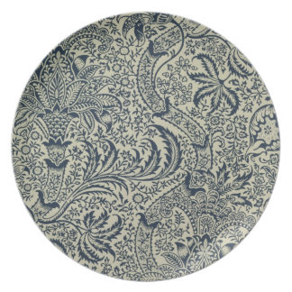 Wallpaper with navy blue seaweed style design plates