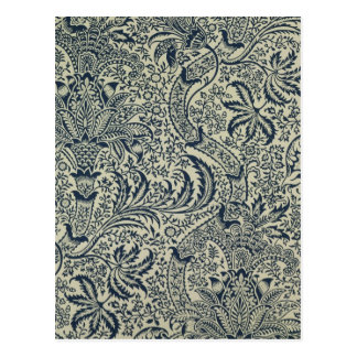 Wallpaper with navy blue seaweed style design postcard