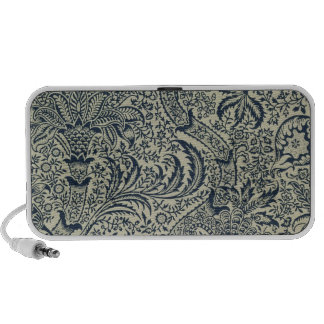 Wallpaper with navy blue seaweed style design iPod speaker