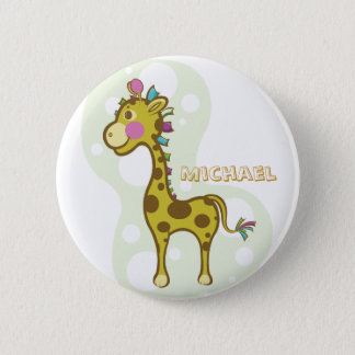 Wally the Giraffe Character 6 Cm Round Badge