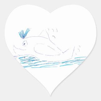 Wally Whale Heart Sticker