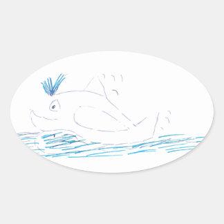 Wally Whale Oval Sticker