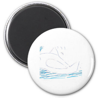 Wally Whale Round Button Magnet
