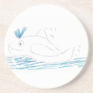 Wally whale Sandstone Coaster
