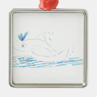 Wally Whale Square Metal Christmas Decoration Silver-Colored Square Decoration