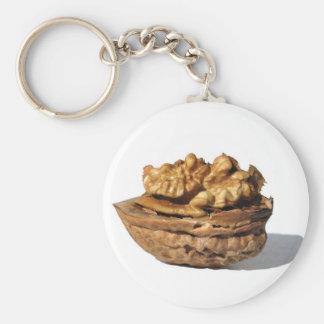 Walnut Basic Round Button Key Ring