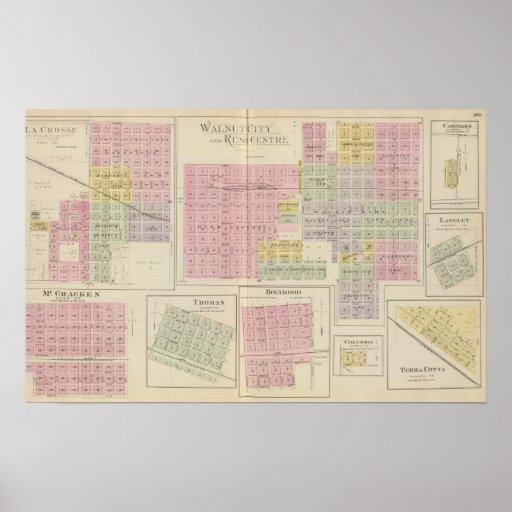 Walnut City, Rush Centre, La Crosse, Kansas Print