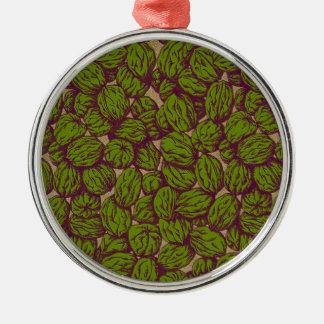 Walnut Pattern Silver-Colored Round Decoration