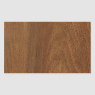 WALNUT WOOD American finish  blank blanche + TEXT Rectangular Sticker