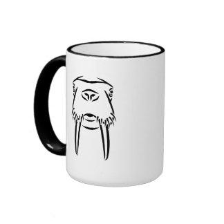 Walrus head tusks mugs