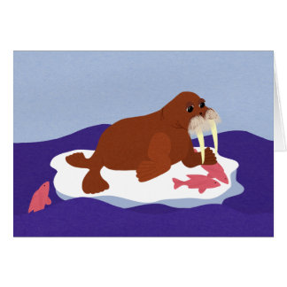 Walrus on Iceberg with Fish Greeting Card