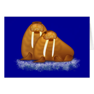 Walrus Pair Floating on Ice Flow greeting card
