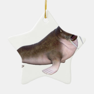 Walrus with quizzical look ceramic star decoration