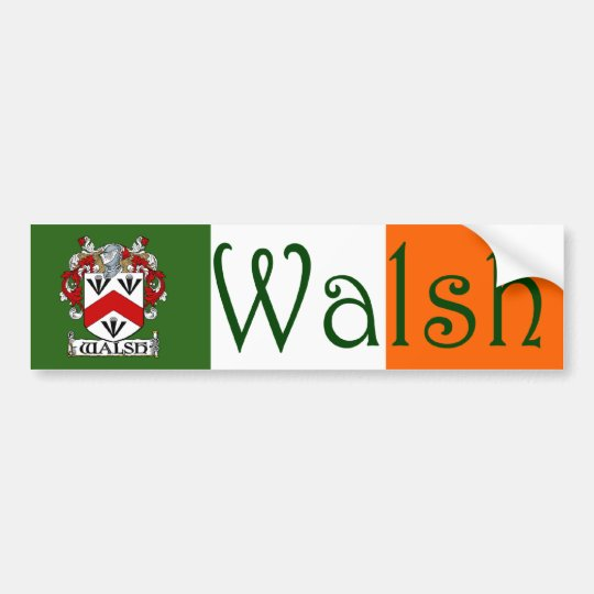 Walsh Coat of Arms Flag Bumper Sticker