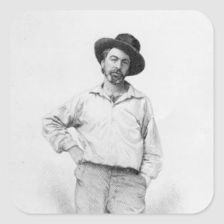 Walt Whitman, frontispiece to 'Leaves of Square Sticker
