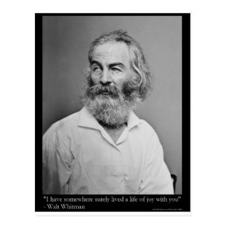 Walt Whitman Joy With You Love Quote Mugs Tees etc Postcard