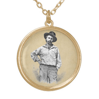 Walt Whitman Leaves of Grass Gold Plated Necklace