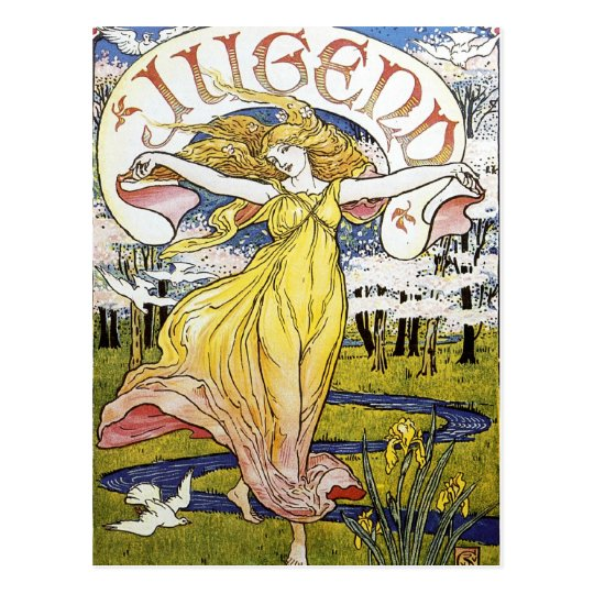"Walter Crane ""Jugend"" Art Nouveau Postcard"